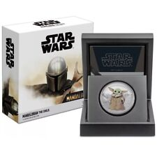 *AUTHENTIC* 2021 Mandalorian 1oz Colored Silver Proof The Child Grogu Baby Yoda