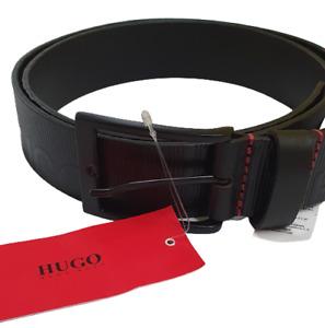 Hugo Boss Men's Genuine Metal Buckle Leather Belt HUGO on Strap - Black - NEW