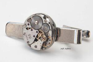 ROUND WATCH SKELETON TIE CLIP Men's Steampunk Mechanic Tie Clasp/Bar Accessory