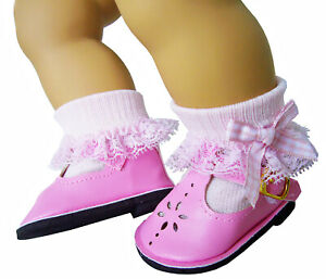 Pink T-Strap Shoes & Lace Trim Socks w/ Gingham Bows for Bitty Baby Doll Clothes