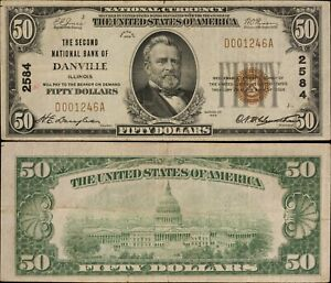 1929 Ty 1 $50 National Currency - 2nd National Bank of Danville, Ill. - F- 1803-