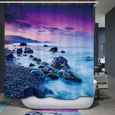 Ocean Rock Sunset Shower Curtain Purple Blue Rocky Shore Tranquil Scene Nautical