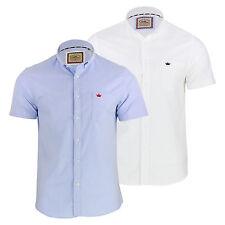 Mens Shirt Brave Soul Senate Short Sleeve Oxford Collared Casual Top