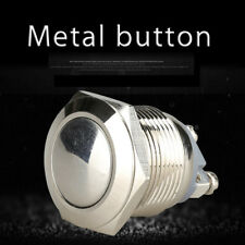 1*Car Waterproof 19mm 12V Momentary On Off Metal Push Button Switch Cool Silver