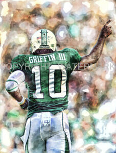 Robert Griffin III Baylor Redskins Limited & Rare Art Print s&n only 50 12 x18