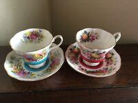 Royal Albert Bone China, Country Fayre: SUSSEX & SURREY, Teacups & Saucers