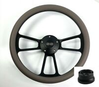"""14"""" Black Steering Wheel (Dark Gray Wrap, Chevy SS Horn Button, Adapter A01)"""