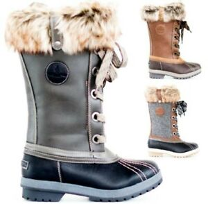 LADIES WOMENS SNOW WARM WATER RESISTANT WINTER THERMAL KWELLINGTONS FUR BOOTS