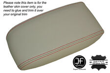 RED STITCH NON SLIDING CHAMPAIGNE BEIGE ARMREST SKIN COVER FITS JAGUAR X-TYPE