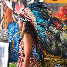 INDIAN HEADDRESS AQUA Feathers Chief War bonnet Costume Native American