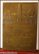 1925 MEDAILLE PLAQUE VILLE DE PARIS A F LE MENUET MANDAT MUNICIPAL