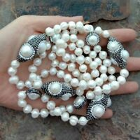 """White freshwater Pearl Black Crystal Pave 38"""" Long Necklace"""