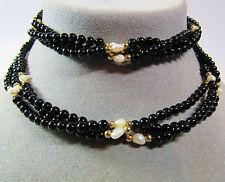 "14KT 14K Yellow Gold 3 Strand 28.5"" Necklace Japanese Biwa Pearls Black Onyx"