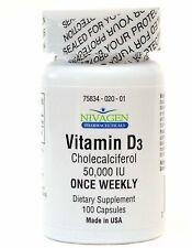 Nivagen Pharmaceuticals Vitamin D3 50,000 IU Capsules 100 Count, 1 Pack