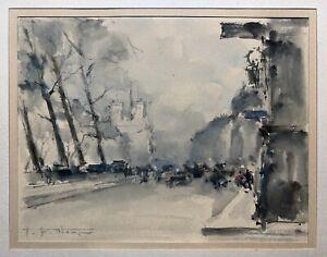 WAGNER Hermann Edouard Aquarelle Vue de Paris Boulevard des Grands Augustins