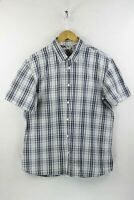 STRAUSS Mens LEVIS Shirt SLIM Fit Short Sleeve WESTERN CHECK Large EXCELLENT P43