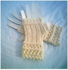 Ribs and Open Lace Fingerless Glove Ladies Pattern by CarussDesignZ 0014