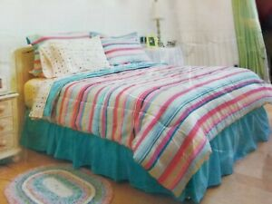 Brand New Queen Sheridan Nantucket Stripes Bed in a Bag Pink Turquoise