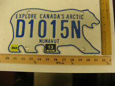 2013 NUNAVUT BEAR DEALER DLR LICENSE PLATE # D1015N 1015 AMAZING RARE #15