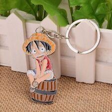 Anime One Piece Monkey D Luffy Pendant Keychain Metalic Key Ring Cartoon Gifts
