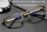 Photochromic grey lenses Reading eyeglasses gold glasses outdoor mens Readers