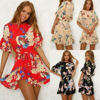 Women Boho Short Sleeve Floral Summer Party Evening Beach Mini Dress Sundress