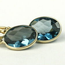 London Blue Topaz, 14KY Gold Leverback Earrings, E101