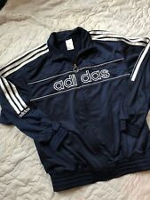 Adidas Men's Track Suit Jacket Navy Blue White S Small Full Zip Spellout