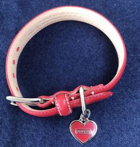 Coach Red Leather Dog Collar Sz XS-Hang Tag Heart NIB
