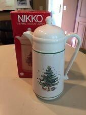 NIKKO CHRISTMAS TREE HOLIDAY WHITE THERMAL VACUUM CARAFE 1 Liter With Box