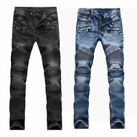 Men's Distressed Moto Biker Jeans France Style Skinny Ripped Slim Denim Pants