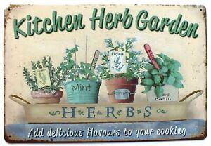 Kitchen Herb Garden Metal Tin Wall Sign Plaque Door 30 x 20 cm