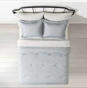 Hearth & Hand Magnolia Blue Twill Comforter 2 Shams Full/Queen Farmhouse Bedding