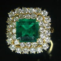 Emerald Diamonds Ring 18k White Yellow or Rose Gold Engagement Cocktail