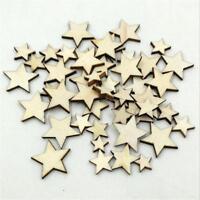 50X Natural Unfinished Blank Wood Wooden Stars Star DIY.Crafts Decor Geschenk,