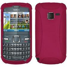 AMZER Silicone Soft Skin Jelly Fit Case Cover for Nokia C3 - Hot Pink