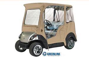 Custom Drivable 2 Person Golf Cart Enclosure Cover for Yamaha Drive - Sand, TAN