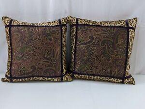 """Ralph Lauren Bohemian Paisley Leopard Throw Pillow SET OF 2  20x20"""" NEW 1210"""