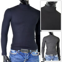 Mens Classic Polo Neck Sweater Slim Fit Stretchy Cotton Ribbed Grey Blue Funnel