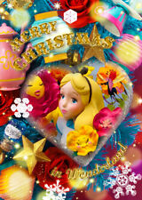 Disney Alice in Wonderland Christmas Ornament 3D Lenticular Greeting Card