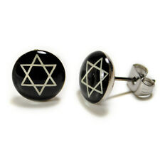 STAINLESS STEEL POST EARRINGS STAR of DAVID Hebrew Jewish Black White Studs NEW