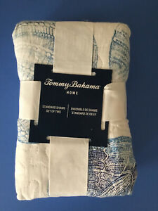 NEW TOMMY BAHAMA Quilted Ocean Isle Blue Sea Urchin Standard Size Pillow Shams
