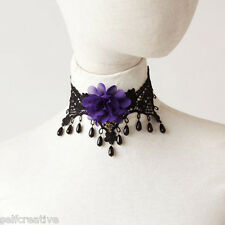 Womens Purple Flower Pearl Drop Lace Choker Chunky Necklace Gothic Party Collar