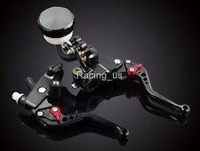 "Universal 7/8"" Front Brake Master Cylinder & Cable Clutch Fluid Reservoir Levers"