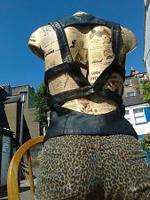 Topshop UK 8 / EU36 Black Strap Top Bodice Waistcoat Gilet Bralet Faux-Leather x