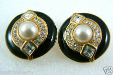 Swarovski Crystal Clear gold tone Black Enamel White pearl faux clips earrings