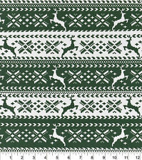 Flannel Fabric GREEN NORDIC REINDEER Pattern 3 yds X 42 in 100% Cotton