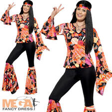 Women's Hippy Costume - Hippie Fancy Dress Ladies 60s Womens Outfit 70s Adult