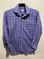 Peter Millar Mens Button Down Shirt Medium Blue Red Check Cotton Long Sleeve M