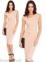 Goddess Nude Pleated Side Asymmetric Fitted Cocktail Evening Party Summer Dress